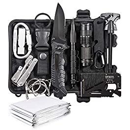 DLY Emergency Survival Kit 13 in 1 – Outdoor Survival Gear Tool for Wilderness/Trip/Cars/Hiking/Camping Gear – Emergency…
