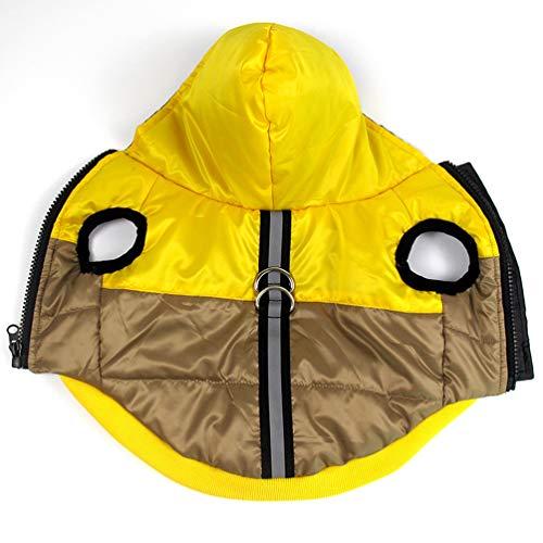 Jim Hugh Dog Pet Coat Hood Winter Waterproof Outfit Leash D-Ring Reflective Dog Cat Jacket Outdoor Clothes -