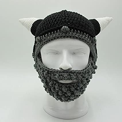 d3efa0b5033 ZGZY Beard Hat Beanie Knit Original Barbarian Warrior Halloween with Viking  Horns Bearded Caps Windproof for