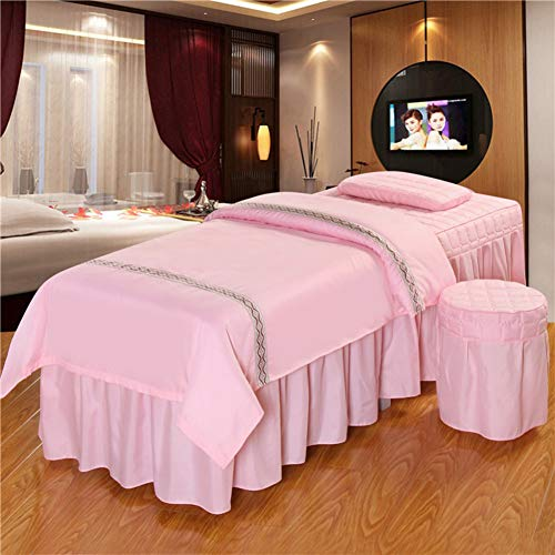 Massage Table Sheet Sets,Beauty Bed Cover Four-Piece Set Soft Cotton Facial Bed Cover Physiotherapy Bed Special Square Head use- Natural-Pink 190x80cm(75x31inch) ()