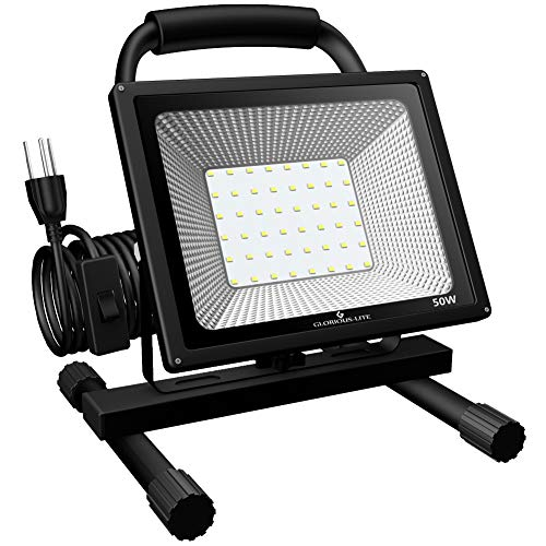 GLORIOUS-LITE 50W LED Work Light Stand, 5000LM Super Bright Flood Work Light, 16ft/5M Cord with Plug, IP66 Waterproof Flood Lights, 6500K, Adjustable Angle Working Lights for Workshop, Garage