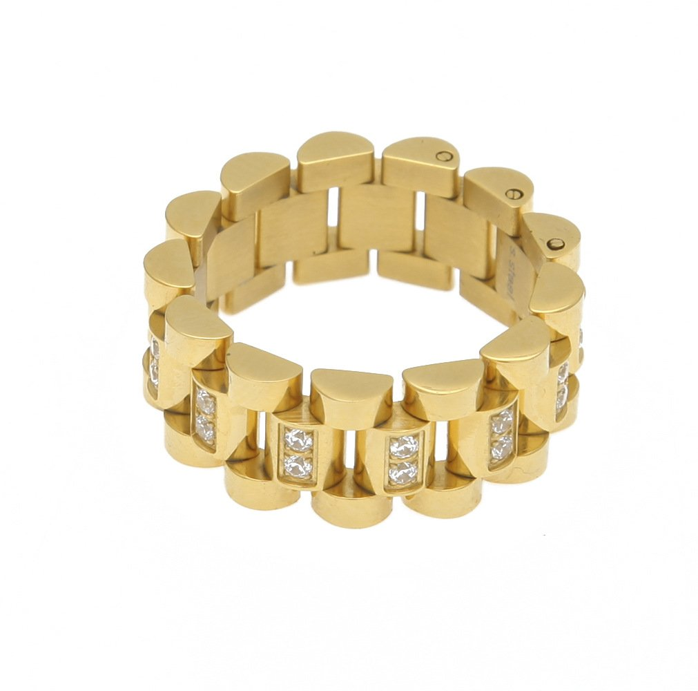 HongBoom Hot Hip Hop Rings 18K Gold Plated CZ CRYSTAL Fully Iced-Out Strap Ring (Gold/CZ/US size 8) by HongBoom (Image #2)