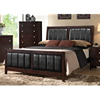 Coaster Carlton 202091Q Queen Size Panel Bed with Black Padded Leatherette Tapered Legs Solid Wood and Veneers Construction in Cappuccino