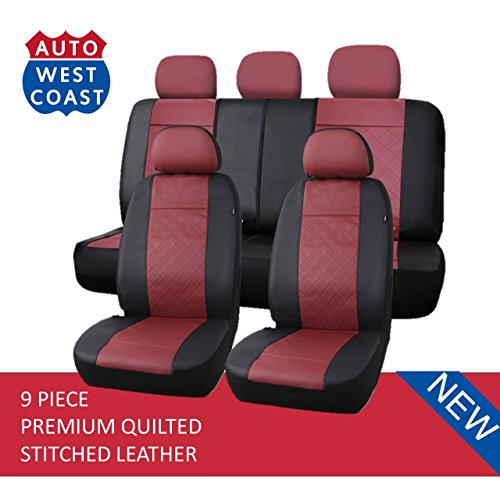 West Coast Auto Premium Quilted Stitched Leather - Universal Car Seat Cover, Airbag Compatible, (Fits Most Car, Truck, Suv or Van) (Dark Red)
