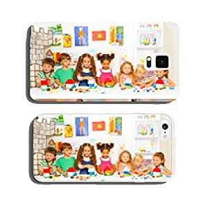 Little boys and girls constructing toy houses cell phone cover case iPhone6