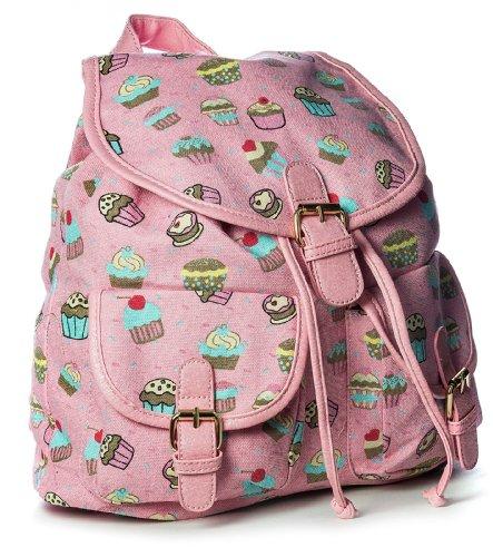 Big Handbag Shop Womens Medium Fabric Ice Cream Print Rucksack Backpack Bag (2424-5 Baby Pink)