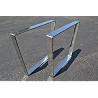 Polished Stainless Chrome Metal Table Legs, Bent Trapezoid Style - Any Size!