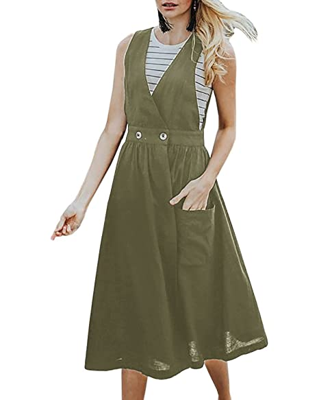 official supplier look for big sale Saodimallsu Womens Straps A-Line Loose Overall Dresses Casual Swing V Neck  Jumper Dress with Pocket