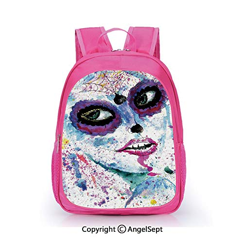 Children Schoolbag Cute Animal Cartoon Custom,Grunge Halloween Lady with Sugar Skull Make Up Creepy Dead Face Gothic Woman Artsy Blue Purple,15.7inch,Fashion Lightweight School Backpack -