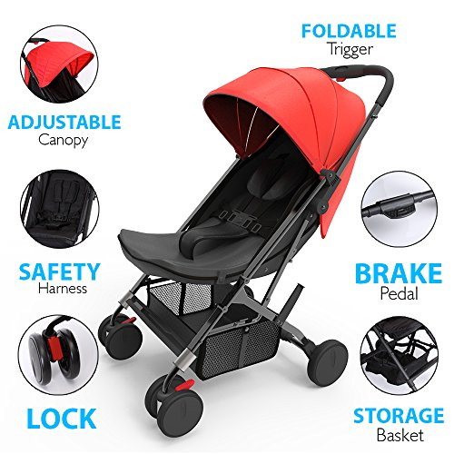Portable Folding Baby Travel Stroller - Upgraded Lightweight Foldable Compact Stroller w/Adjustable Reclining Seat, Foot-Activated Brake, Locking Front Wheels, Retractable Canopy - Jovial by Jovial (Image #1)
