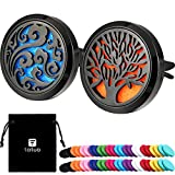 Tatuo 2 Pieces 316L Stainless Steel Car Aromatherapy Essential Oil Diffuser Air Freshener Vent Clip Locket with 48 Pieces Replacement Felt Pad (Cloud, Tree Patterns-Black)