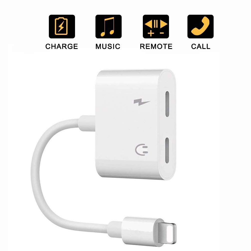 Double Dongle Adapter Cable for iPhone 7//7 Plus//8//8 Plus//X//Xs Headset Music&car Charger&Remote&Call Support 10.3 or Later for iPhone Splitter 2 in 1 Earphone Jack Aux Audio Charger