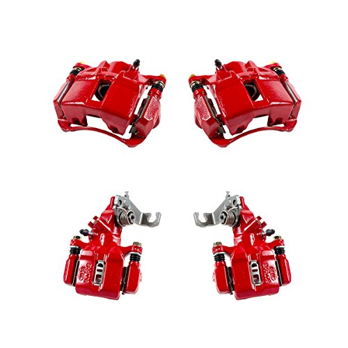 CCK01265 FRONT + REAR [ 4 ] Performance Grade Semi-Loaded Powder Coated Red Caliper Assembly Set Kit
