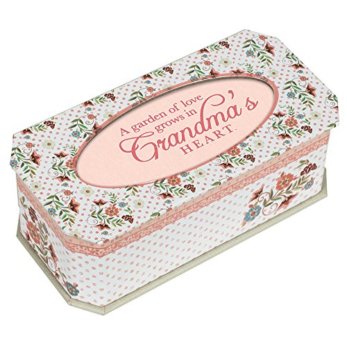 Cottage Garden Love Grows in Grandmas Heart Polka Dot Floral Chic Jewelry Music Box Plays ()