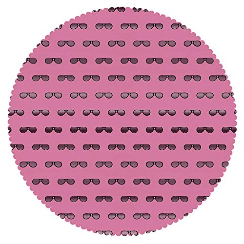 iPrint Funky Round Tablecloth [ Pink,Retro Vintage House Club Party 70s 80s Inspired Fancy Singer Sun Glasses Image,Pink and Black ] Home Accessories