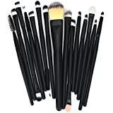 KissU 15pcs Makeup Brush Set tools Make-up Toiletry Kit Wool Make Up Brush Set (Black)