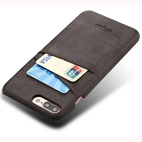 Price comparison product image Aulzaju iPhone 7 Plus Luxury Synthetic Leather Case,  iPhone 8 Plus Super Slim Cow Leather Credit Card Case Fashion Comforatable Wallet Cover for iPhone 7 Plus / 8 Plus-Black