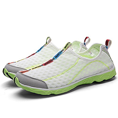 Mxson Herren Slip On Sneaker Mesh Casual Sport Walking Strand Aqua Schwimmbad Wasser Schuhe Weiß Grün