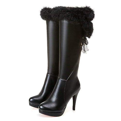 73f8c8d98da AnMengXinLing Fashion Knee High Boot Women Stiletto High Heel ...