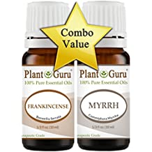 """Frankincense and Myrrh Essential Oil 10 ml. 100% Pure Undiluted Therapeutic Grade. """"VALUE PACK"""" 1 of Each"""