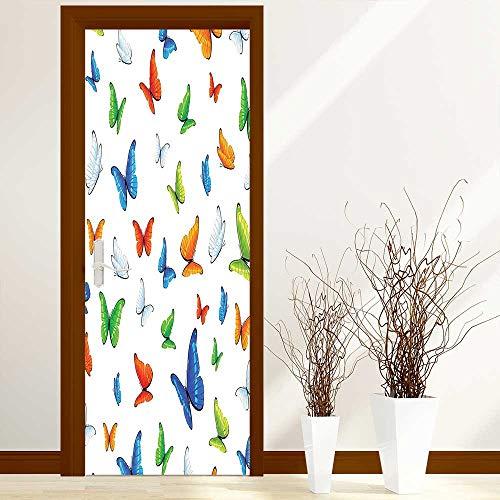 L-QN Renovation Waterproof Door Stickers Butterflies Animal Clipart Ecology Environment Joyful Design Cartoon Tropics Made from Tear-Proof, Washable, W30 x H80 inch
