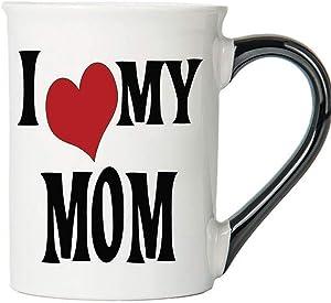 Cottage Creek Coffee Mug, I Love My Mom Coffee Mug, Large 18oz Ceramic Mom Coffee Cup, Mom Mug [White]