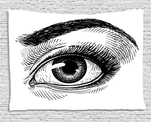 Ambesonne Eyeball Tapestry, Artistic Female Eye Makeup Themed Artwork Sketch Illustration Vintage Design, Wall Hanging for Bedroom Living Room Dorm, 60 W X 40 L Inches, Black and White