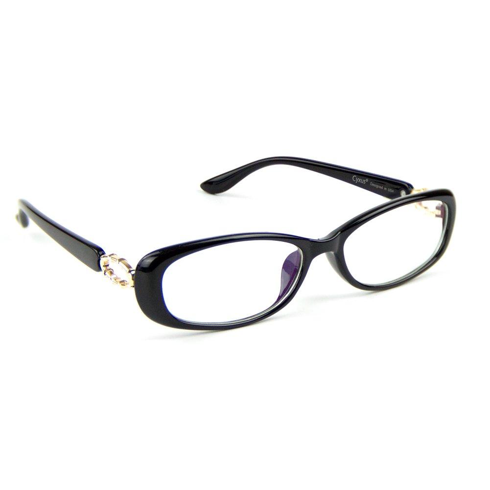 Cyxus Blue Light Filter Computer Glasses, Better Sleep Anti Eyestrain Headache Classic Eyewear Oval Frame (Black)