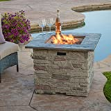Rogers 32'' Stone Square Fire Pit with Counter Top (Grey)