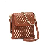 Jollychic Women's Rivet Embellished Metail Chain PU Mini Cross Body Bags (Brown) offers