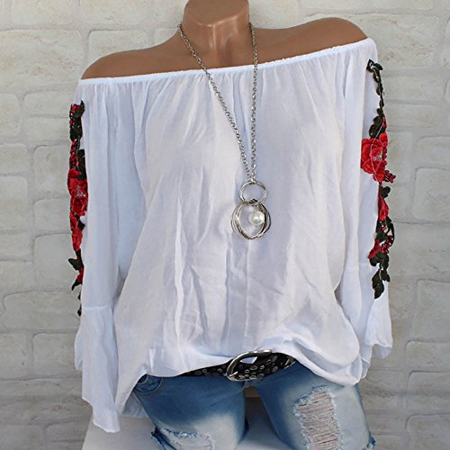 Blouse For Women-Clearance Sale, Farjing Plus Size Long Sleeve Shirt Embroidered Applique Blouse Pullover Tops (US:8/L,White) by Farjing (Image #1)