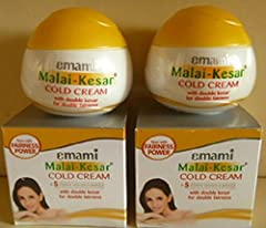 2 X Emami Malai Kesar Cold Cream with Active Herbs Saffron for Double Fairness Cold Cream Pamper Your Skin with Malai Kesar Cold Cream in Winter (30ml X 2 Pack)by Emami