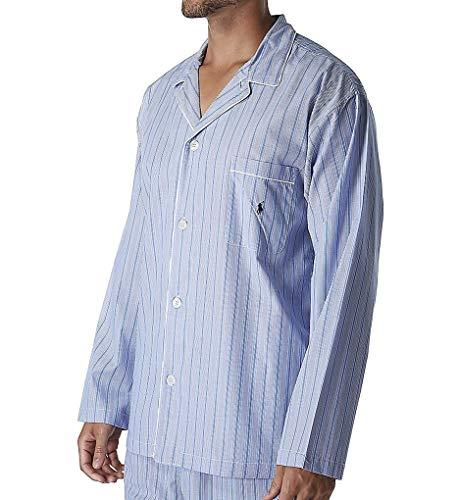 (Polo Ralph Lauren Big Man Woven Cotton Long Sleeve Pajama Top (RY25RX) 4XL/Andrew Stripe/Navy)