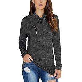KIRUNDO 2021 Winter Women's Long Sleeve Pullover Zipper Cowl Neck Tops Tie Dye Sporty Sweatshirts(9 Colors,S-XXL)