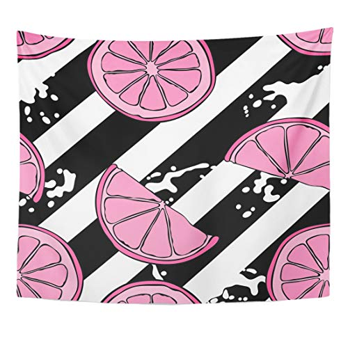 Emvency Tapestry Colored Lines Fruit Bright Pink Lemons Striped Black and White Stripes Diagonal Home Decor Wall Hanging for Living Room Bedroom Dorm 60x80 Inches