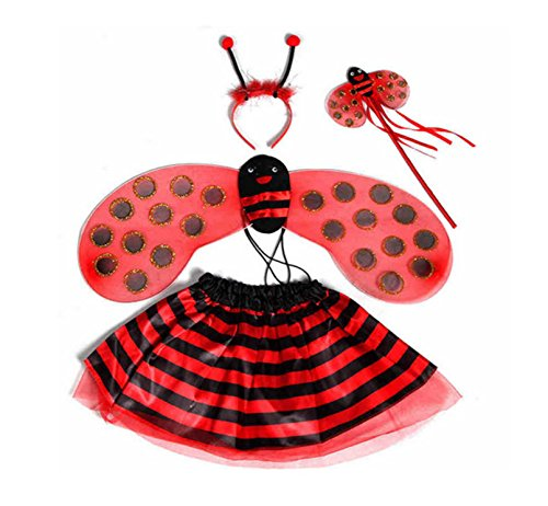Rush Dance Recital Bee Ladybug Princess Fairy- Wings, Wand, Headband & Tutu (Kids (2-6 Years Old), Lady Bug Red & Black Stripes)
