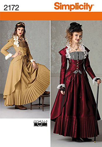(Simplicity Victorian and Steampunk Fitted Dress Costume Sewing Pattern, Sizes 6-12)
