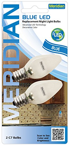 Meridian Electric 13121B Blue LED Replacement Night Light Bulbs, 2 pack (Blue C7 Led Replacement Bulbs)