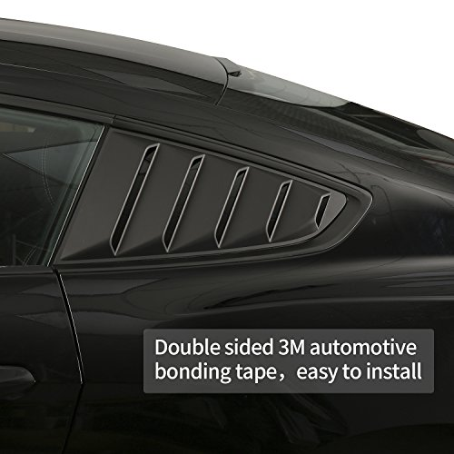 V8 GOD Quarter Side Window Louvers Cover in Matte Black for 2015 2016 2017 Ford Mustang Set