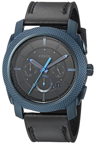 Fossil Men's 'Machine' Quartz Stainless Steel and Leather Casual Watch, Color Black (Model: FS5361)