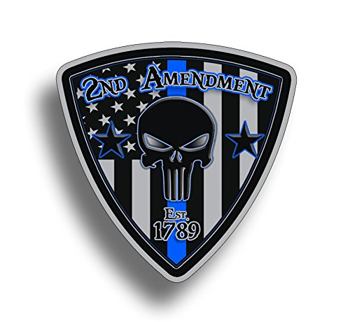 2nd Amendment Badge Sticker Blue line Vinyl Decal - Support Police Lives Matter Law Enforcement USA America Military Flag US Second 2A (2nd The Amendment Support Decal)