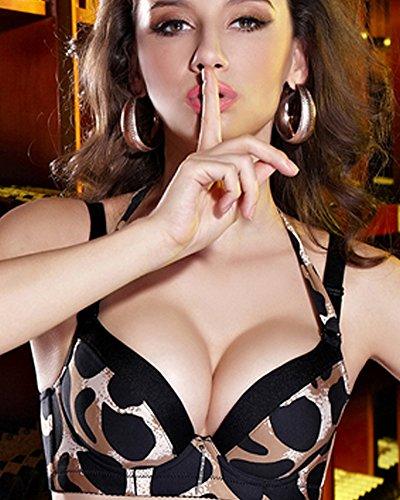 34bc68096c489 Etosell Women Sexy Leopard Push Up Bra Double Baldric Padded ...