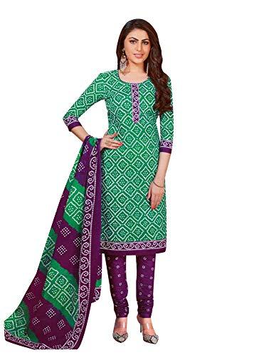 ladyline Readymade Bandhej Printed Pure Cotton Salwar Kameez Dress Indian (Size_40/ Sea Green)