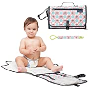 Baby Diaper Changing Pad with Cushioned Changing Mat and Pacifier Clip, Portable Changing Station with Pockets, Travel Changing Pad Waterproof & Foldable for Toddlers Infants and Newborns