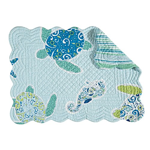 Quilted Scallop Edge Placemat, Imperial Coast (Imperial Blue Table Mat)