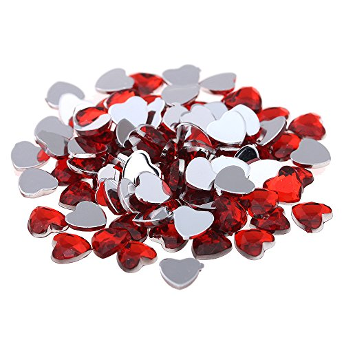 Nizi Jewelry RED Color Heart Shape Acrylic Rhinestones Flatback Flat Faceted Strass Gems 3D Nail Art Decorations 3MM 300PCS - Red Flat Heart Charm