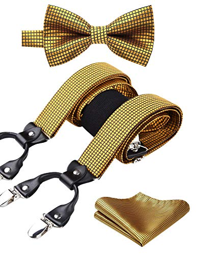 HISDERN Check 6 Clips Suspenders and Bow Tie Set Y Shape Adjustable Braces Gold -
