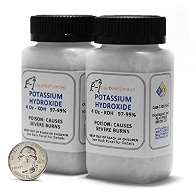 "Potassium Hydroxide ""Caustic Potash"" / Fine Flakes / 8 Ounces / 99% Pure / Food Grade / SHIPS FAST FROM USA by Loudwolf Industrial & Scientific"