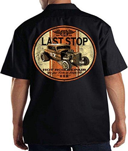 - Last Stop Motorcycle Work Shirt Biker Rider Route 66 Harley Vintage Mens Tee, Black, XXX-Large