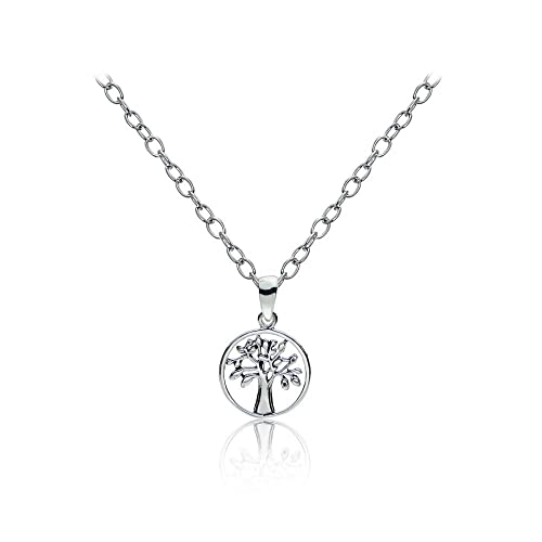 017ba7685fd6 Image Unavailable. Image not available for. Color  Sterling Silver Small  Tree of Life Polished Necklace